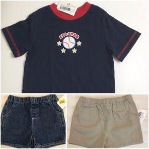 Boy's 24 months T Shirt, Blue Jean & Khaki Shorts